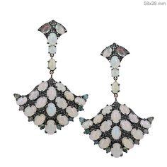 14k+Gold+Diamond+Pave+Opal+Gemstone+Fine+Dangle+Earrings+Sterling+Silver+Jewelry+#Handmade+#DropDangle