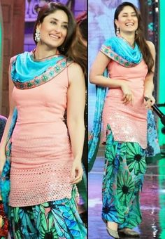 Fashion Glamour World: Kareena Kapoor Famous Indian Celebrity Wear Beautiful Punjabi Patiala Salwar Kameez New Fashion Suits by Bollywood Designers