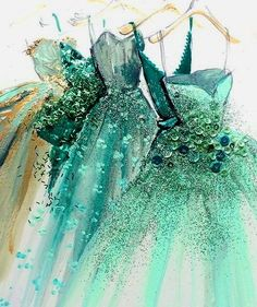 fashion illustration art print of green blue gold hue designer couture evening ball gowns by Katie Rogers Croquis de mode Fashion Drawings, Fashion Illustrations, Fashion Sketches, Art Sketches, Art Drawings, Illustration Fashion, Dress Sketches, Fashion Sketchbook, Drawing Faces
