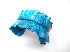 Blue and Green Patina Foldform Ruffle Cuff by SnazzyTrinkets,