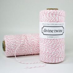 "A pretty Pink Bakers Twine with white stripes. Eco-luxe bakers twine and is great for gift wrapping, crafts projects, wedding favors, wedding decorations, and gift packaging.240 yards per spool100% Cotton4-plyMade in USABio-degradableWound on cardboard tubeSpool dimensions are 2"" diameter by 4"" tall $15.00"