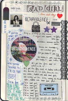 tizianagrace: Another page of my Moleskine Music. This time, Lana Del Rey. Music Journal, Journal Pages, Art Diary, Commonplace Book, Journal Aesthetic, Art Journal Inspiration, Art Inspo, Art Sketchbook, Fashion Sketchbook