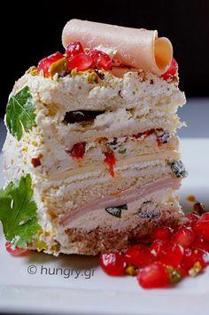 Αλμυρή Τούρτα Torte Recipe, Kitchen Stories, Sandwiches, Sweets, Recipes, Food, Gummi Candy, Candy, Essen
