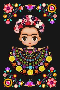 Discover recipes, home ideas, style inspiration and other ideas to try. Frida Kahlo Cartoon, Kahlo Paintings, Frida Art, Diego Rivera, Mexican Folk Art, Naive Art, Cute Drawings, Illustration Art, My Arts