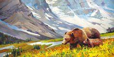 "'Sow and Cub'  48"" x 96"" Acrylic on Canvas Artist Randy Hayashi"