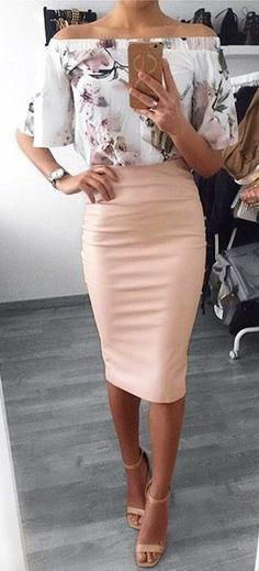 #summer #outfits  White Printed Off The Shoulder Top   Pink Pencil Skirt