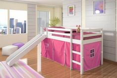 Donco Kids Twin-size Tent Loft Bed with Slide (White / Pink Tent) Girls Bunk Beds, Loft Bunk Beds, Modern Bunk Beds, Low Loft Beds, Kid Beds, Bunk Bed Tent, Kura Bed, Canopy Beds, Bunk Bed With Slide