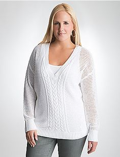 When the days turn chilly, treat yourself to our cute and cozy dolman sweater! Open knit sweater flatters your shape with classic cable detailing and a loose dolman fit. Alluring V-neck and ribbed trim at cuffs and hem complete the look. lanebryant.com #LB12Days