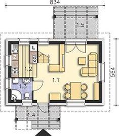 Martin LMW18 - Rzut parteru Small House Plans, Floor Plans, How To Plan, Houses, Little House Plans, Tiny House Plans, Floor Plan Drawing