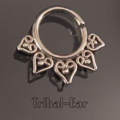 Septum boucle nez petit anneau piercing percing silver nose ring Tribal Ear 016