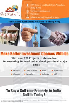 Your Indian Real Estate Advisory in Hong Kong Make Better Investment Choices with us. For more details Visit us : https://www.weplanithk.com/ Or Call us at 98101465 to fix an Appointment We Plan It - Hong Kong - We are #RealEstate Advisory in #HongKong For #IndianProperty #Investment #Home #SecondHome #NRIInvestment