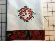 Christmas towel. Embroidered on white cotton kitchen towel. $13