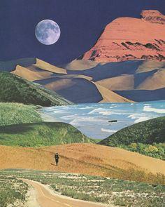 Happy Wanderer Art Print by Leafandpetal - X-Small Surrealist Collage, Art Du Collage, Art Inspo, Inspiration Art, Happy Wanderers, Retro Futuristic, Psychedelic Art, Surreal Art, Art Plastique