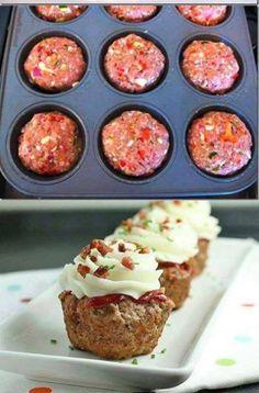 Cupcakes pain de viande et pomme, glaçage au fromage