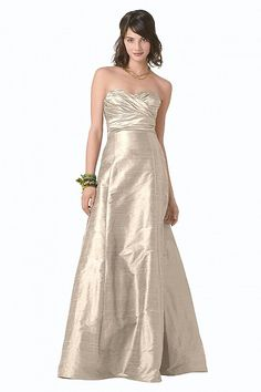 Watters.com Dupioni silk strapless dress with shirred bodice. Available in floor length or extra length. Also available in Frost Dupioni as style 8117.