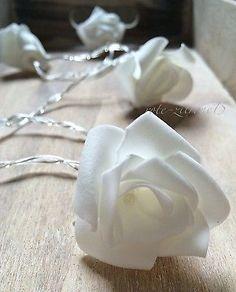 10er LED Rosen Lichterkette weiß Hochzeitsdeko Tischschmuck Licht Leuchte Deko