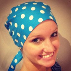 aqua blue polka dot scrub hat surgical hat