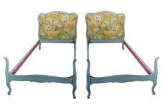 French Painted Twin Beds, Pair