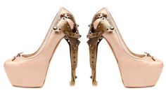 Shoes: pumps pink ballerina alexander mcqueen metal heel high heels pink brown