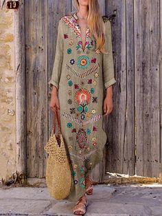 Fashion Cotton/Linen V-Neck Printed Fringed Casual Maxi Dress – stylepopa Long Sleeve Maxi, Maxi Dress With Sleeves, Yellow Dress Summer, Summer Dresses, Maxi Dresses, Beautiful Casual Dresses, Cotton Dresses Online, Estilo Hippie, Bohemian Print