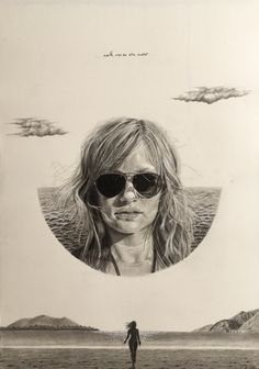 Pencil drawing. Portrait drawing. Skandi art. Minimal. Black and White. Beach. Skandi Circle. Mono. Pencil Drawings, Portraits, Graphic Design, Beach, Water, Illustration, Movies, Movie Posters, Art