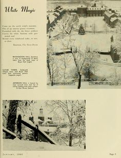 "The Ohio Alumnus, January 1960. ""White Magic."" East Green dorms in a snowscape. :: Ohio University Archives"