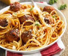 Juicy lamb meatballs with tomato pasta. Mince Recipes, Meatball Recipes, Cheese Stuffed Meatballs, Easy Weekday Meals, Tinned Tomatoes, Salty Foods, Spaghetti And Meatballs, Couscous, How To Cook Pasta