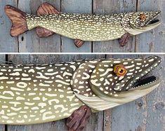 Pike Fish Wall Art 33 Northern Pike Wood and Metal Folk Art Fish, Fish Wall Art, Fish Art, Fish Sculpture, Wall Sculptures, Fish Wood Carving, Wood Carvings, Metal Fish, Fish Design