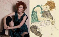 """Julianne Moore, por Peter Lindbergh para a Harper's Bazzar inspirado na obra """"Mulher sentada com joelho dobrado"""", do pintor austríaco Egon Schielle"""