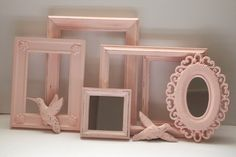 Picture Frames Birds and Mirrors Vintage Painted Pale Rose Pink