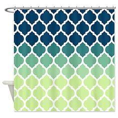 CafePress Blue Green Moroccan Lattice Shower Curtain