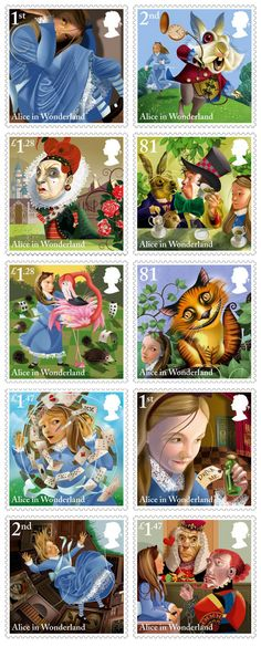 Alice's Adventures in Wonderland Stamp Set