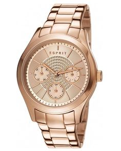 Esprit Women's Julia Gold Quartz Watch with Analogue Display and Stainless Steel Strap Watches Online, Stainless Steel Bracelet, Quartz Watch, Michael Kors Watch, Gold Watch, Rolex Watches, Jewels, Sterling Silver, Stuff To Buy