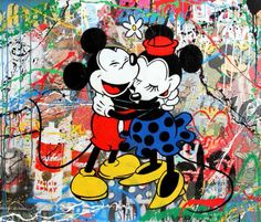 Mickey & Minnie Hug (Mixed Media) - Mr Brainwash http://dld.bz/dVtHn #mrbrainwash #printmaking
