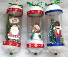 Vintage snowglobe ornaments created from recycled items and scrapbooking supplies!  Includes detailed tutorial. Cute!!