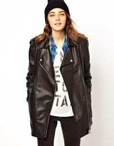 Image 1 ofASOS Premium Longline Boyfriend Leather Jacket