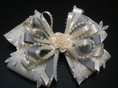 Gray & IVORY or White Satin Hair Bow Big Large by HareBizBows