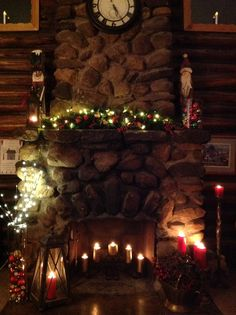 Christmas mantle log cabin fireplace 2013 edition