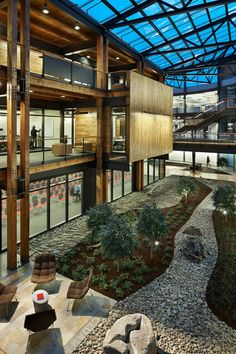 Central atrium, Federal Central South. (Credit: Benjamin Benschneider) Seattle- Biophilic Design