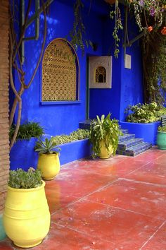 Garden of Yves Saint Laurent, Marrakech, Morocco. Need to get back to Marrakech.the souks.and this beautiful Jardin. Moroccan Design, Moroccan Tiles, Moroccan Decor, Marrakech Morocco, Marrakesh, Marrakech Gardens, Jardim Majorelle, Moroccan Garden, Bohemian Decor