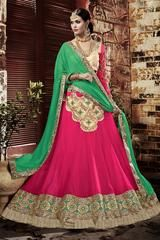 Pink Green Georgette Heavy Embroidered Semi Stitched Lehenga Choli – Aasri Ethnics
