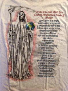 Santa Muerte Prayer two side print NEW 100% Cotton NEW Urban White Shirt pocket #CH #GraphicTee
