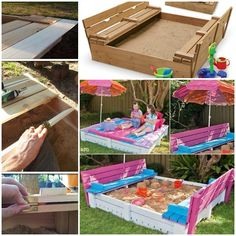 Wonderful DIY Sandbox with cover