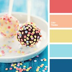 Tasty delicious palette that combines warm and cool shades. Pale yellow, pastel orange in a company of blue and celadon create a natural, native composition. Berry color gives richness and expressiveness to the scheme. This combination of colors will look good in the decor of spas, swimming pools, child's play rooms.