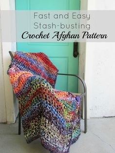 Easy Crochet Afghans Simple and beautiful stash-busting crochet blanket. This afghan is a colorful and cozy addition to your home. - Simple and beautiful stash-busting crochet blanket. This afghan is a colorful and cozy addition to your home. Crochet Afghans, Afghan Crochet Patterns, Crochet Blankets, Baby Blankets, Crochet Stitches, Easy Crochet Blanket, Crochet Granny, Fast Crochet, Knit Or Crochet