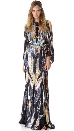 Temperley London Long Featehr Print Dress