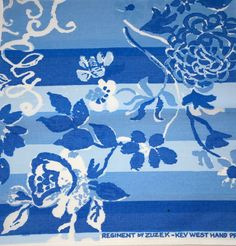 Lilly Pulitzer vintage 9 inch fabric squares Regiment by Zuzek Key West Hand Print Fabrics, Inc. blue stripe floral sorority letters by LuLuBunnyHome on Etsy