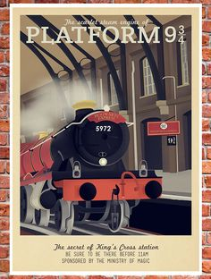 Retro Travel Poster - Harry Potter - Platform 9 3/4 Hogwarts Express - MANY SIZES - Modern Vintage Magic Wizard Geek Film Typography Print