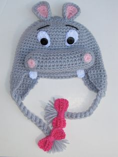 Girl Crochet Hippo Hat With Earflaps