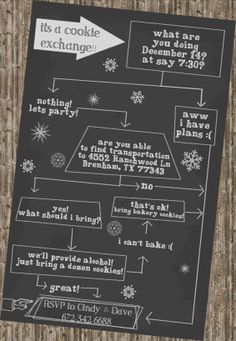 "Holiday Party- Chalkboard Flowchart Invitation >>>get 10% off using coupon code ""PINNED2013"" expires Dec 1, 2013"